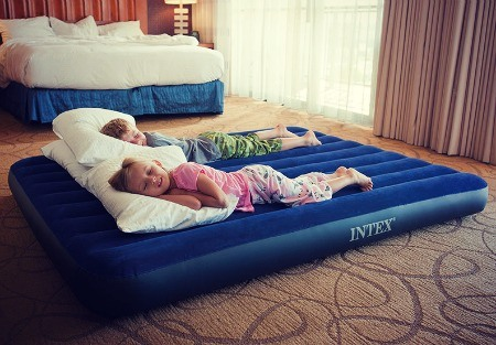 Kids on airbed.