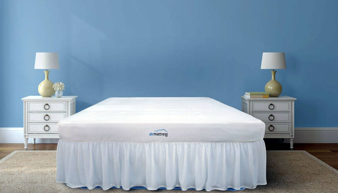 Air Mattress Queen Size With Fitted Sheet, Bed Skirt, and Built-in Pump